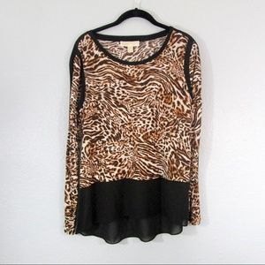 Michael Kors Animal Print Blouse  Medium